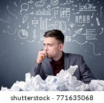 young businessman sitting... | Shutterstock . vector #771635068