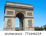 arc de triomphe in paris on an... | Shutterstock . vector #771646219