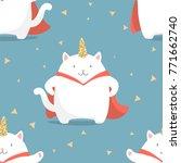 cute cartoon seamless pattern...   Shutterstock .eps vector #771662740