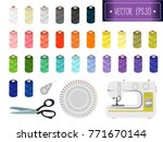 sewing thread. supplies for... | Shutterstock .eps vector #771670144