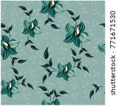 vector seamless pattern flowers ... | Shutterstock .eps vector #771671530