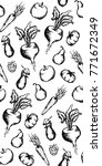 vegetable fruit monochrome ink... | Shutterstock .eps vector #771672349