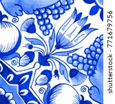 delft blue style watercolor... | Shutterstock . vector #771679756