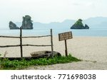 beautiful beach scenery with... | Shutterstock . vector #771698038