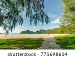 beautiful beach scenery with... | Shutterstock . vector #771698614