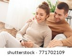 young couple morning together... | Shutterstock . vector #771702109