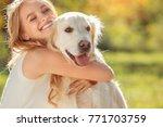young woman blonde hair summer... | Shutterstock . vector #771703759