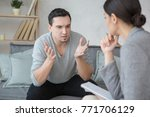 man visit psychologist meantal... | Shutterstock . vector #771706129