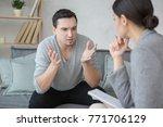 man visit psychologist meantal... | Shutterstock . vector #771706129
