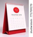 Small photo of Simple desk calendar for December 2018