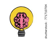human brain in lightbulb | Shutterstock .eps vector #771710704