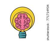human brain in lightbulb | Shutterstock .eps vector #771714934