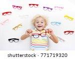 child at eye sight test. little ... | Shutterstock . vector #771719320