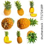 many different pineapple on... | Shutterstock . vector #771724189