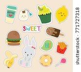set of cute sticker | Shutterstock .eps vector #771727318