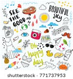 set of colorful doodle on paper ... | Shutterstock .eps vector #771737953