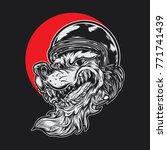 wolf biker wearing helmet. | Shutterstock .eps vector #771741439