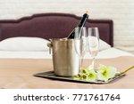 honeymoon concept. champagne... | Shutterstock . vector #771761764