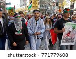Small photo of San Francisco, CA - December 09, 2017: More than 100 people rallied at the United Nations Plaza to condemn President Donald Trump's decision to recognize Jerusalem as the capitol of Israel