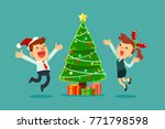 happy businessman and... | Shutterstock .eps vector #771798598