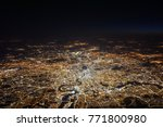 Small photo of The amazing city of London at night seen from 22.000 feet (=6.700 meters) with its million lights.