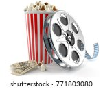 film reel with popcorn isolated ... | Shutterstock . vector #771803080