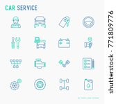 car service thin line icons set ... | Shutterstock .eps vector #771809776