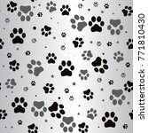 dog paw print and star seamless ... | Shutterstock . vector #771810430