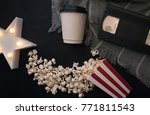cinema party  popcorn   coffee  ... | Shutterstock . vector #771811543