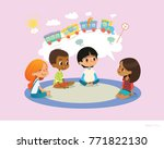 girl telling fairy tale to... | Shutterstock .eps vector #771822130