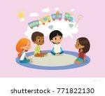 girl telling fairy tale to... | Shutterstock .eps vector #771822130