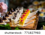 glass shots  pastry. wedding... | Shutterstock . vector #771827983