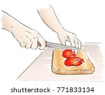 sketch of hands choping tomato... | Shutterstock .eps vector #771833134