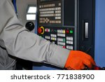 person works behind the control ... | Shutterstock . vector #771838900