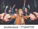 group of friends making party... | Shutterstock . vector #771849739