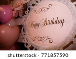 pink happy birthday banner | Shutterstock . vector #771857590