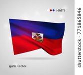 haiti 3d style glowing flag...   Shutterstock .eps vector #771865846