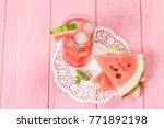 watermelon summer cocktail with ... | Shutterstock . vector #771892198