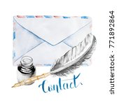 watercolor envelope with inks... | Shutterstock . vector #771892864