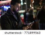 man sending and looking social... | Shutterstock . vector #771899563