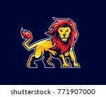 Stock vector lion mascot logo sport logo emblem or crest character design 771907000