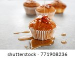 pouring maple syrup onto tasty...   Shutterstock . vector #771908236