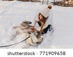 Pleased Husky Resting On Snow...