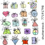 sketches gift packages | Shutterstock .eps vector #77191798