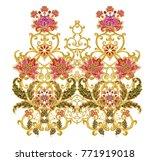 stylized golden shiny flowers... | Shutterstock . vector #771919018