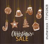 set of christmas gingerbread... | Shutterstock .eps vector #771922828