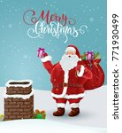 santa claus holds bag of gifts. ... | Shutterstock .eps vector #771930499