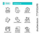 Line Icons About Coffee And Tea.