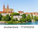 basel with minster cathedral on ... | Shutterstock . vector #771933310