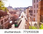 basel streets with city trams ... | Shutterstock . vector #771933328